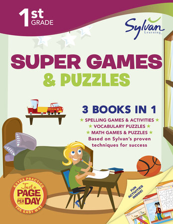 First Grade Super Games & Puzzles (Sylvan Super Workbooks) by Sylvan Learning