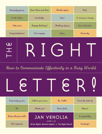 The Right Letter by Jan Venolia