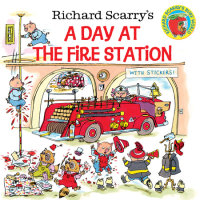 Book cover for Richard Scarry\'s A Day at the Fire Station