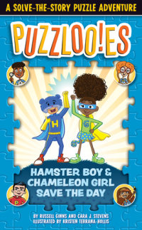 Book cover for Puzzlooies! Hamster Boy and Chameleon Girl Save the Day