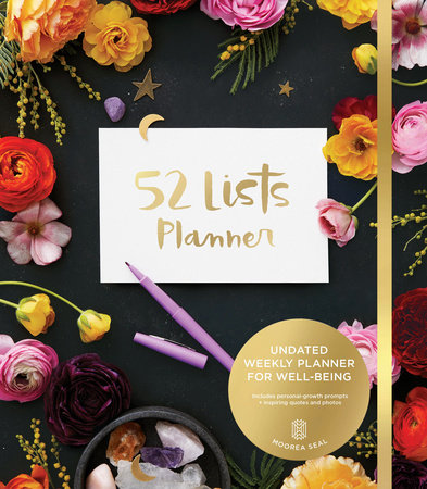 52 Lists Planner Undated 12-month Monthly/Weekly Planner with Pockets (Black Flo ral)